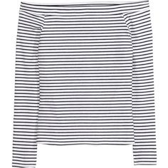 H&M Off-the-shoulder Top $9.99 ($9.99) ❤ liked on Polyvore featuring tops, long sleeve jersey, fitted tops, off shoulder long sleeve top, h&m tops and long sleeve jersey top