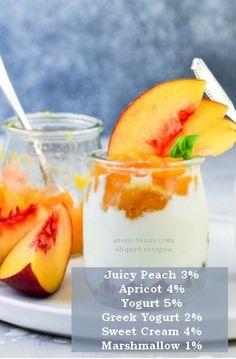 Peach yogurt eliquid recipe - Faites un eliquide au goût onctueux d'un yaourt truffé de morceaux de pêches. Un nectar! #vape #diy #eliquide #ecig