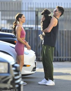 Meet my dog: Johnson and Schulman shared a sweet moment as the dance pro introduced her celebrity dance partner to her adorable pup