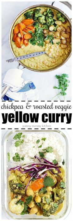 This easy Yellow Curry Recipe is loaded with chickpeas, coconut milk, yellow curry paste, and roasted veggies! It's such a delicious and healthy vegan weeknight dinner.