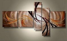 5 Pc Abstract Wall Art Painting Modern Decor Canvas Framed Ready to Hang Home