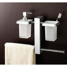 Towel Holder, Gedy 7637-13, Wall Mounted Rack With Toothbrush Holder, Soap Dispenser, and Sliding Towel Rails Chrome 7637-13