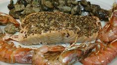 Facil y Sano : Salmon al horno con gambas , setas y costra de ses...