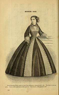 Godey's Lady's Book 1862. Gored Morning robe of cashmere trimmed with silk. gauntlet cuff