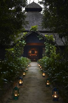 Mountain Lodge, Nepal | Lanterns Light up the Walkway to the Lodges Front Door