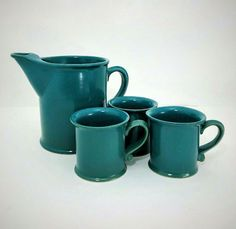 Bennington Potters Vermont Blue Green Ice Lip Pitcher & 3 Cups Vintage Set | eBay