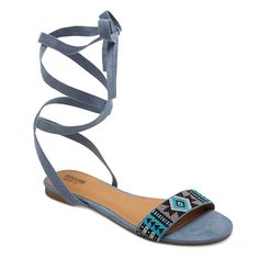 Women's Joanna Ankle Wrap Beaded Quarter Strap Sandals Mossimo Supply Co. - Bl