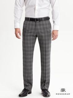 Charcoal Plaid Wool Dress Pants by Banana Republic. Buy for $139 from Banana Republic