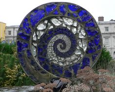 Garden spiral sculpture at Dublin Castle (Irish: Caisleán Bhaile Átha Cliath) in Dublin, Republic of Ireland.
