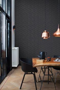 Décoration intérieure / Maison / Couleur coloré / noir ébène charbon / papier peint motifs géométriques / Scandinave industriel / classique moderne contemporain / idée tendance inspiration