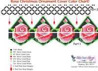 Rose Christmas Ornament Cover Bead Graph for Beading