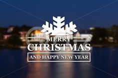 Qdiz Stock Photos Merry Christmas and New Year greeting card,  #background #blur #blurred #building #card #celebration #Christmas #City #eve #greeting #happy #holiday #illuminated #Merry #new #night #old #postcard #retro #season #traditional #vintage #winter #xmas #year