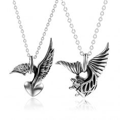 Angel And Heart Shape Titanium Steel Couple Necklaces