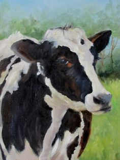 Cow Oil Painting Black and White Holstein by Cheri Wollenberg