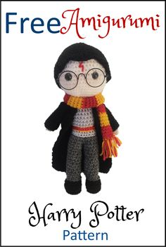 Free Harry Potter Amigurumi Pattern (Crochet) - Daisy and StormCROCHET AMIGURUMI DESIGN Free Crochet Amigurumi Pattern for Harry Potter! He's super cute and lots of patterns for his friends from Hogwarts are available free too!Top 10 Harry Potter Crafts T Harry Potter Free, Harry Potter Crochet, Harry Potter Dolls, Doll Patterns Free, Crochet Patterns Amigurumi, Crochet Dolls, Knitting Patterns, Knitted Dolls, Pattern Ideas