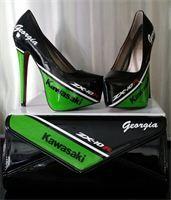 kawasaki style heels with matching hand bag