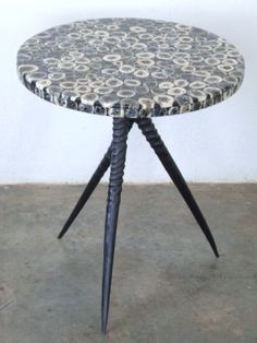 Gemsbok horn table legs with cow-bone inlay top height 650mm and top 650diameter