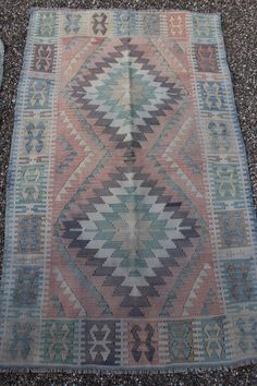 Vintage Turkish Kayseri Kilim Rug Hand Woven by WomanShopsWorld