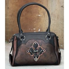 Miss Me Foiled Purse ($99) ❤ liked on Polyvore featuring bags, handbags, zipper handbag, brown studded handbag, handbags purses, miss me and man bag