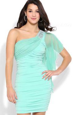 ihomecoming.com SUPPLIES Amazing Sheath/column Short/mini One-shoulder Pleats Beading Homecoming Dress Elegant