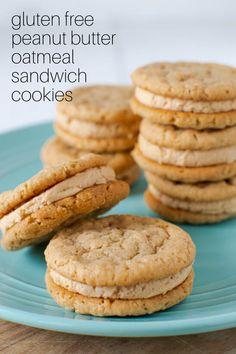 These chewy Gluten Free Peanut Butter Oatmeal Sandwich Cookies are held together with a fluffy, peanut buttery frosting. Similar to the Girl Scout Do Si Dos.