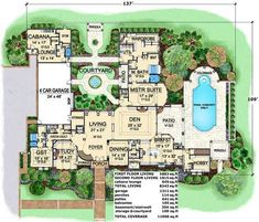 The Valderrama mansion house plan stands out with its spacious floor plan design & stunning private courtyard. This courtyard house plan features 4 bedrooms. House Plans One Story, Dream House Plans, Small House Plans, House Floor Plans, Cabana, Outdoor Grill Area, Courtyard House Plans, Mediterranean House Plans, Luxury House Plans