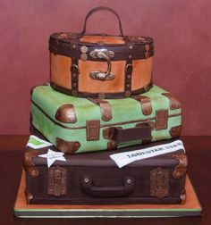 suitcase - I think this is a cake, but I love the combination of suitcases there...