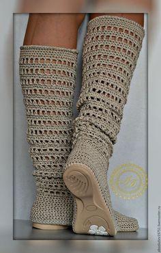 Обувь ручной работы. Ярмарка Мастеров - ручная работа. Купить Сапожки...в составе лён...цвет-варёный... Handmade. Серый
