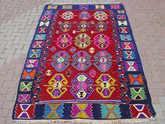Anatolian Turkish Sardes Nomads Candle Design Kilim Rug Carpet 98 x 67 | eBay