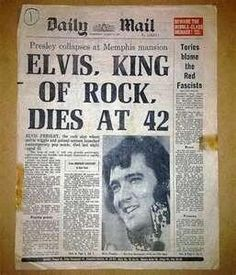 Front page of UK newspaper announcing Elvis Presley's death - August 17th, 1977.