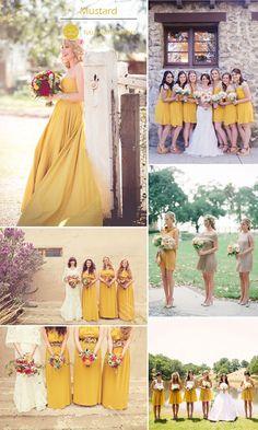 trending mustard yellow bridesmaid dresses for rustic fall weddings