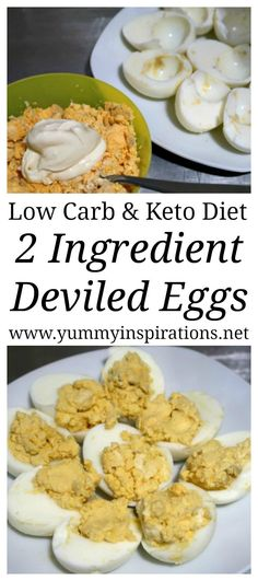2 Ingredient Keto Deviled Eggs Recipe - These low carb deviled eggs have no mayo or mustard and are so easy to make. Great as a Keto Snack Idea or Appetizer.