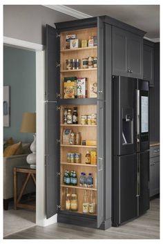 Kitchen Pantry Design, Kitchen Cupboards, Modern Kitchen Design, Home Decor Kitchen, Interior Design Kitchen, Diy Kitchen, Home Kitchens, Corner Larder Cupboard, Coat Cupboard