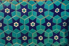 Tiles on the walls of the Blue Mosque of Mazari Sharif, Balkh province, Afghanistan. Islamic Tiles, Islamic Art, Blue Mosque, Vintage Tile, Mosaic Patterns, Pretty Art, Sacred Geometry, Design Elements, Mandala