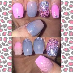 Ombré leopard nails pink and grey Emmajaynelavin