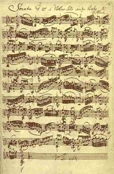 Bach Sonata No.1 in G minor for unaccompanied Violin, original manuscript | [via randombeautysis.tumblr]