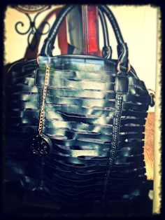 Laser Cut Style Black Faux Leather Tote, give your outfit a little edge with this classy bag!