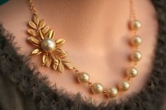 Necklace Jewelry Items similar to Pearl Leaf Necklace Gold Bridal Jewelry Gold Wedding Jewelry Bridesmaids Necklace Pearl Necklace, Vintage Jewelry on Etsy - Gold Pearl Necklace, Leaf Necklace, Pearl Jewelry, Indian Jewelry, Vintage Jewelry, Gold Jewelry, Quartz Jewelry, Jewelry Bracelets, Pearl Necklace Designs