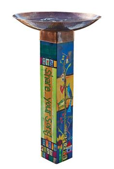 Cool art bath features large basin with soulful vinyl base. Message on one side: gather friends and on the opposite side: share your song Simple to install and sturdier than it appears, this fun bird