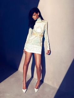 Rihanna wearing Balmain who is the new face for the brand.