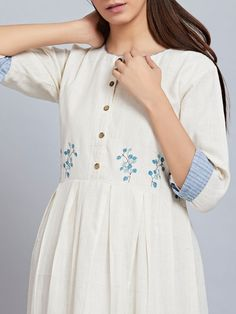 White Khadi Cotton Embroidered Pleated Dress is part of Dresses - Hand Embroidery Dress, Embroidery Suits, Embroidered Clothes, Simple Kurti Designs, Kurta Designs Women, Blouse Designs, Kurta Neck Design, Kurti Designs Party Wear, Mode Hijab