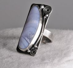 Sterling Silver Blue Lace Agate Ring For Her by WoodridgePlace, $145.00