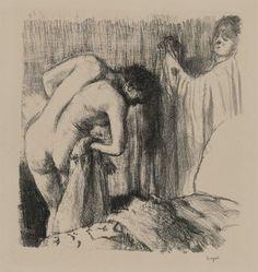 After the Bath lll: Edgar Degas (US /deɪˈɡɑː/ or UK /ˈdeɪɡɑː/; born Hilaire-Germain-Edgar De Gas, French: [ilɛːʁ ʒɛʁmɛ̃ ɛdɡaʁ də ɡɑ]; 19 July 1834 – 27 September 1917) was a French artist famous for his paintings, sculptures, prints, and drawings.