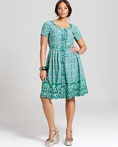 I really like this dress I saw on Bloomingdales.com by Melissa Masse Plus Short Sleeve Printed Zip Front Dress it's a Silk/Polyester blend and I think the print would be slimming and the color perfect for summer!  PRICE: $295.00