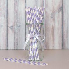 Striped Straws - Light Purple
