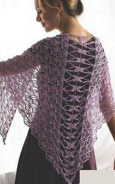 Crochet shawl ♥LCP-MRS♥ with basic diagrams. --- Как связать шаль крючком