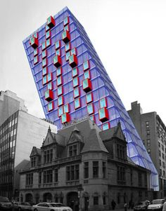 By LOT-EK. The idea is for a 19-story artists' loft building, built by stacking containers, with staircases at the north and south ends. The roof of the slanted tower would sport solar panels.  The building in front of the bold new design is an historic New York City firehouse, perhaps serving as a visual tie to the past.  Read more: http://www.thedailygreen.com/green-homes/latest/shipping-container-homes-460309#ixzz1TWkxEg31