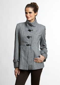 Coffeeshop - Mock Neck Toggle Front A-Line Jacket
