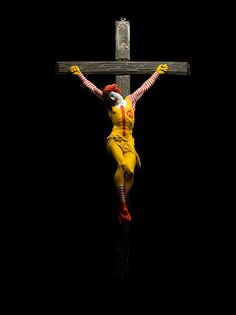Jani Leinonen, McCrucifix, From the triptych Once It Was Faith Now It's Hunger, 2011, Acrylic on Italian crucifix, 100 x 50 x 12 cm