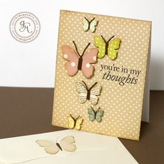 Cute butterfly card by Jennifer McGuire. See her tip for making the butterfly antennae.